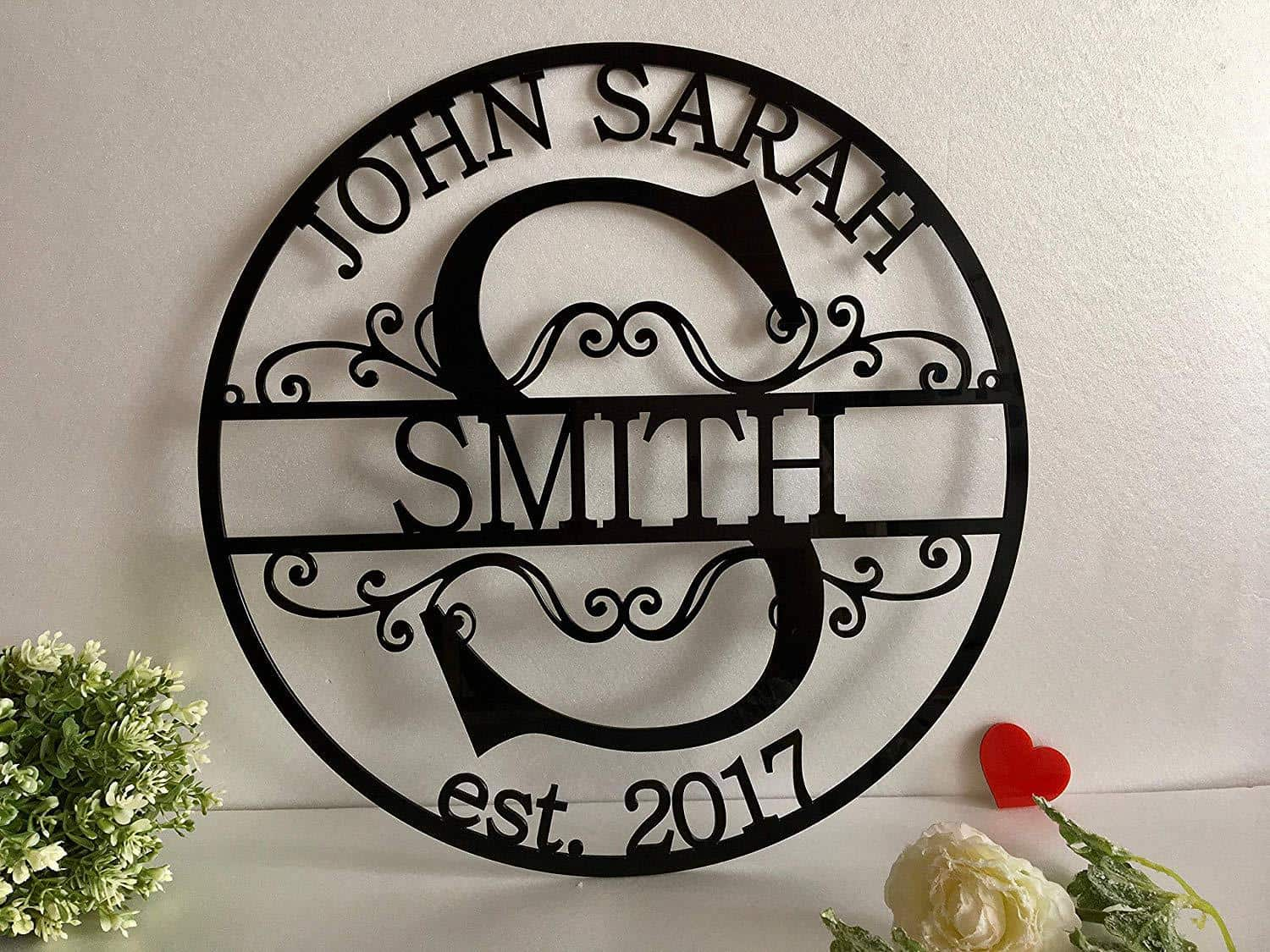 metal monogram last name sign
