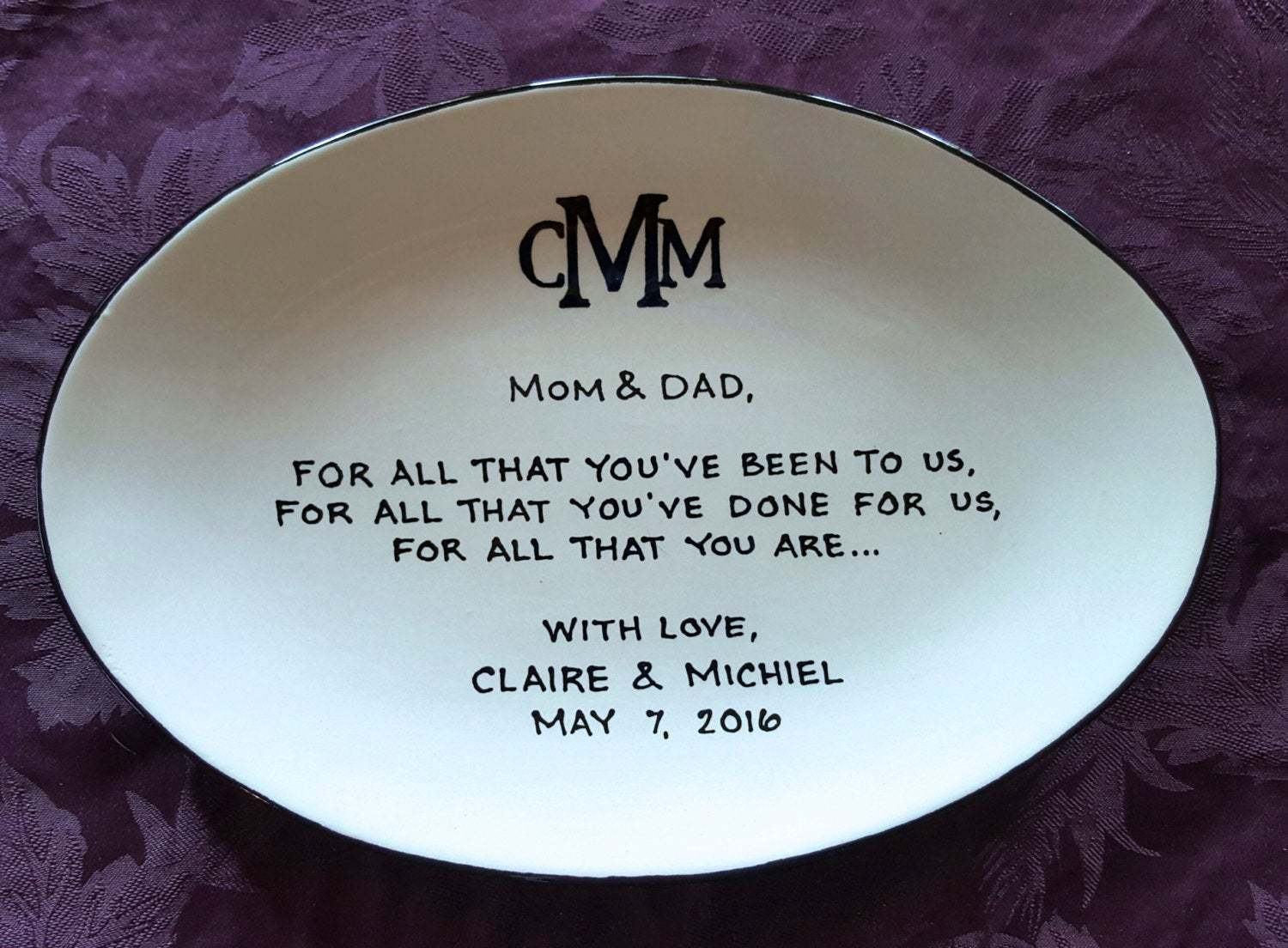 monogram plate for parents of the bride or groom