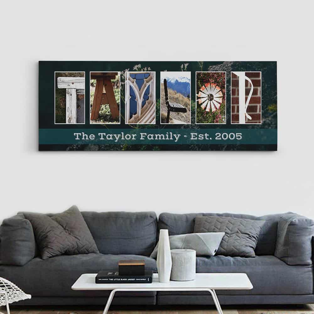 personalized family name sign canvas print made of letter art with established date on the wall