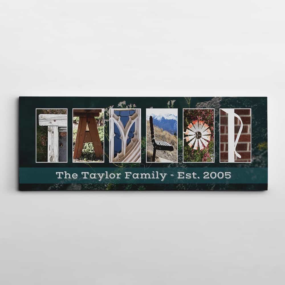 personalized family name sign made of letter art with established date