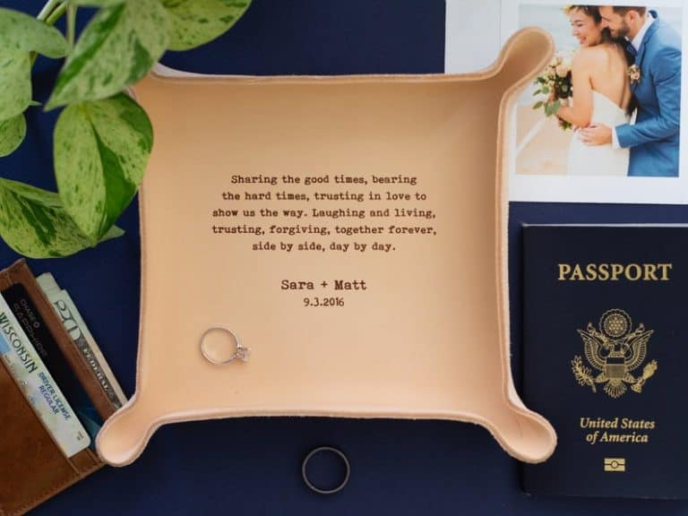 modern 9th anniversary gift idea: personalized leather catchall tray