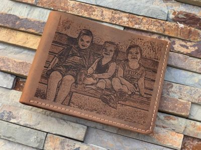 unusual 50th anniversary gifts: picture engraved leather wallet
