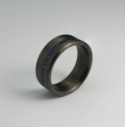9 year anniversary gift for him: ring with lapis lazuli inlay