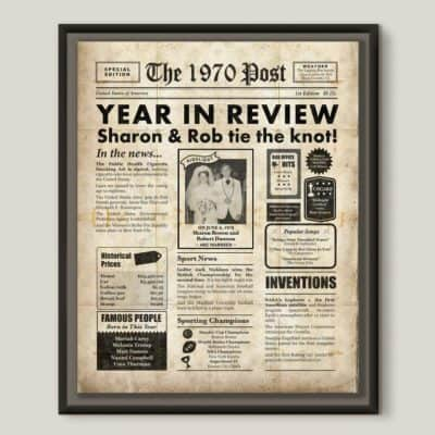 golden wedding anniversary gift: year in review printablle poster