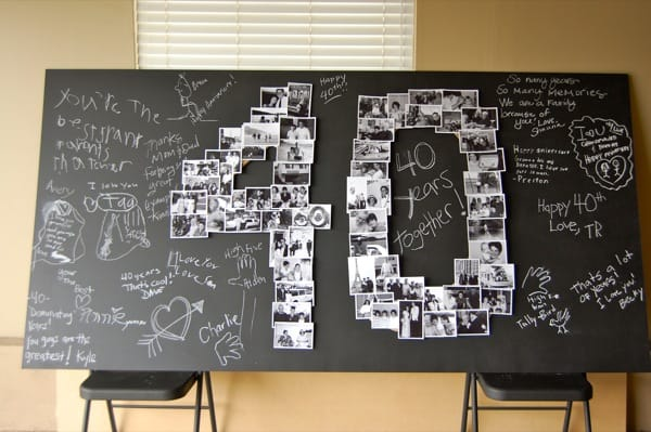 DIY Giant Number Photo Collage - 40th anniversary gift