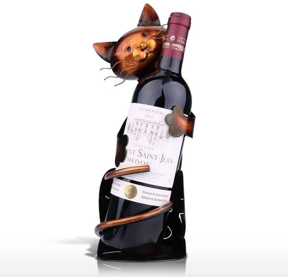 Cat Shaped Wine Holder - Secret santa gift for cat lovers