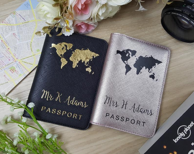 custom passport covers with globe map on them