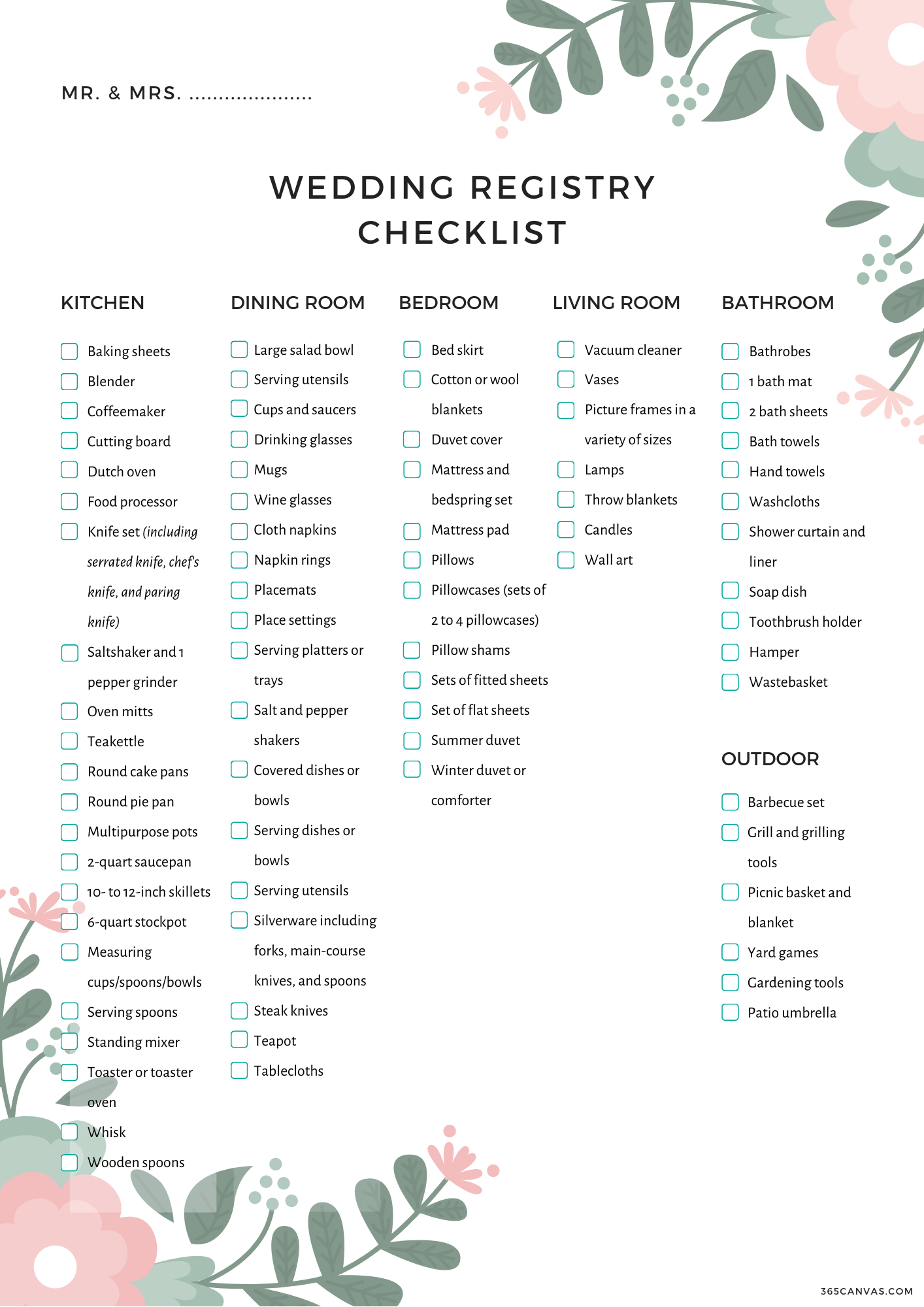 This is an image of Lucrative Wedding Registry Checklist Printable