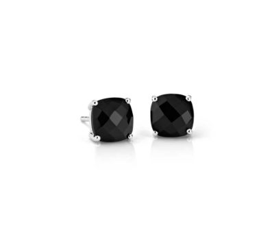 7th wedding anniversary gifts for her: black onyx cushion earrings