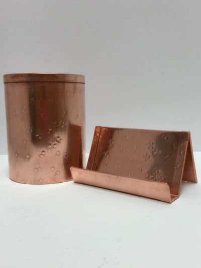 7th anniversary gift for him: copper desk accessories