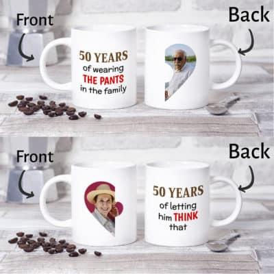 funny 50th wedding anniversary gift idea: custom photo mugs