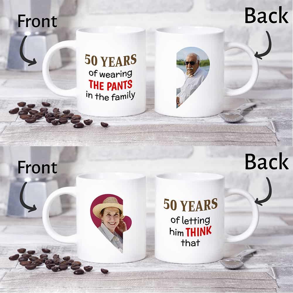 funny 50th wedding anniversary gift idea: custom photo mugs
