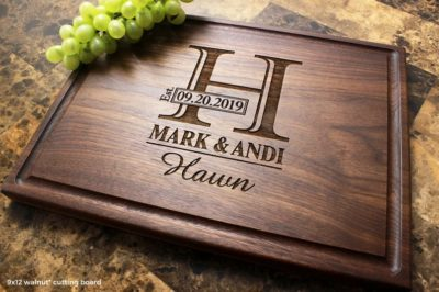gift idea for them on 7th anniversary: engraved cutting board