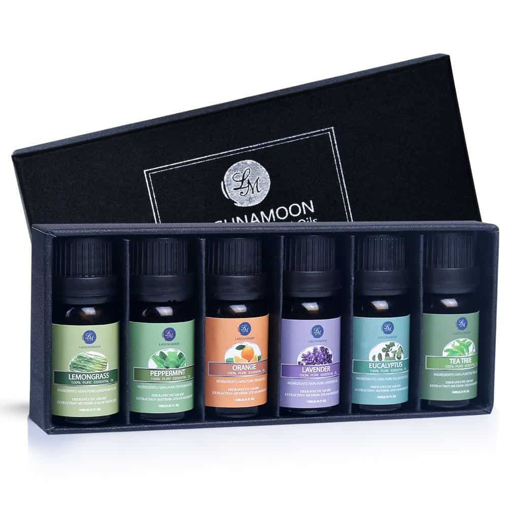 a box of 6 bottles of essential oils