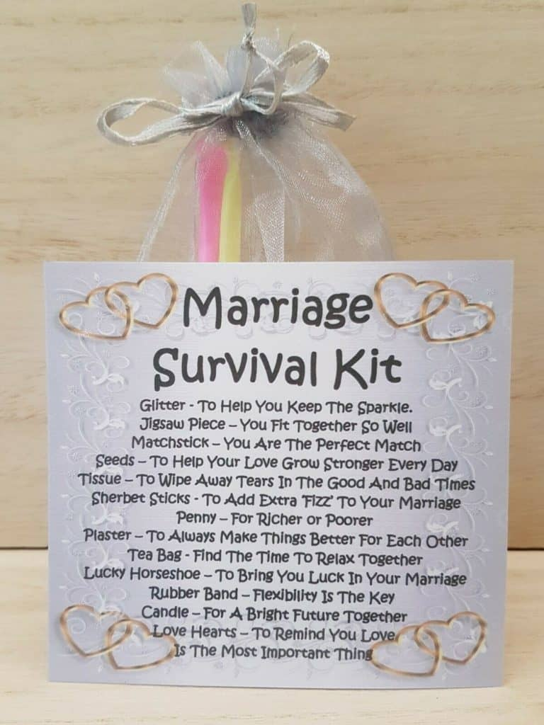 one year anniversary gifts for him - marriage survival kit