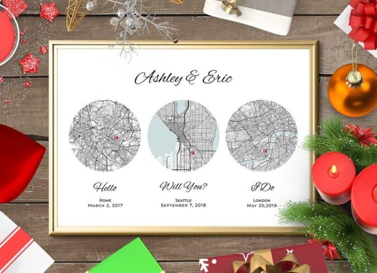 1 year anniversary gift - custom map
