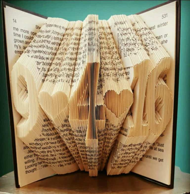 1st wedding anniversary gift for her - folded book art book folding large font