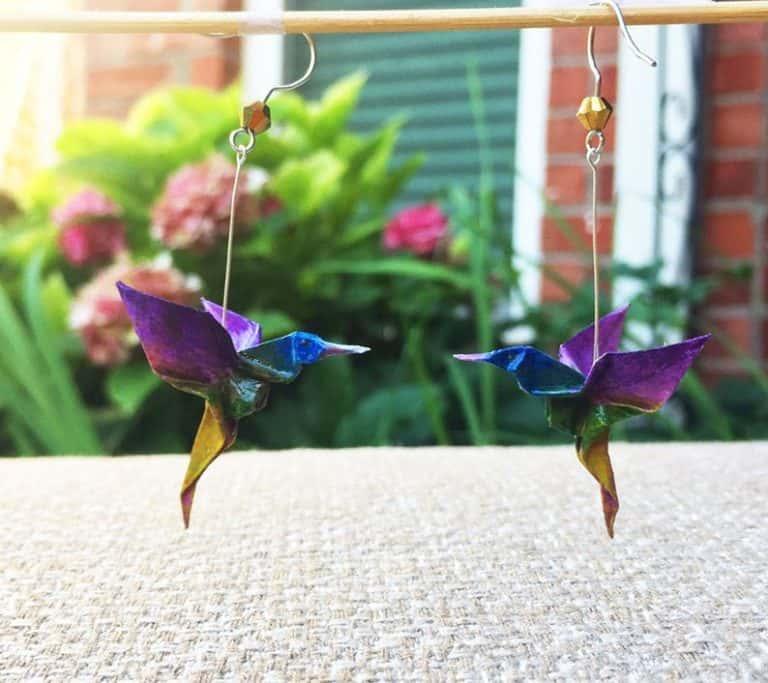 1st anniversary gift for her - hummingbird origami earrings