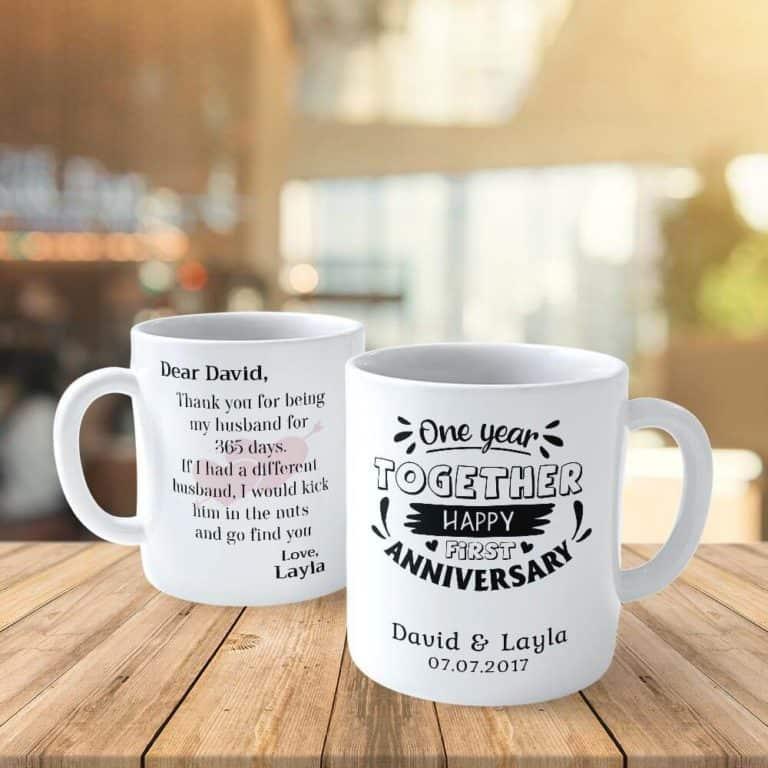 one year anniversary gifts - custom mugs