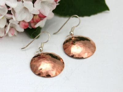copper gifts for her: hammered copper earrings