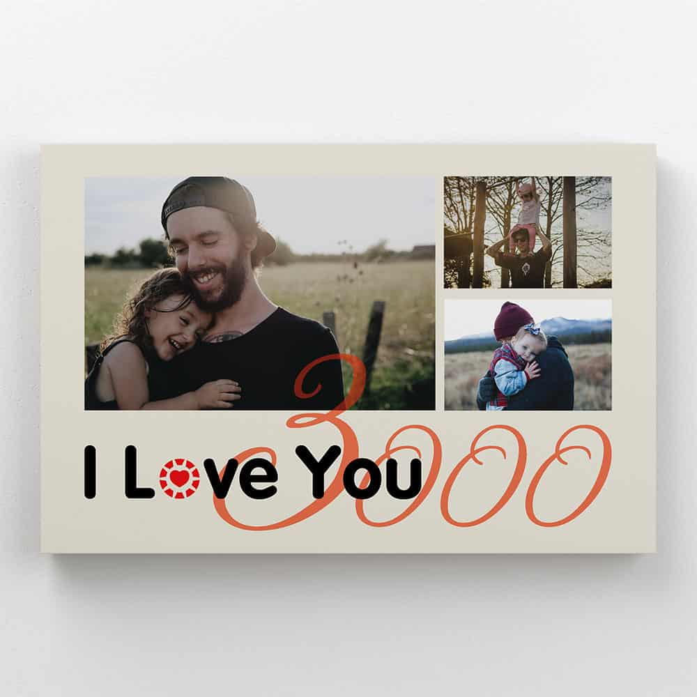 a canvas print with the saying I Love You 3000