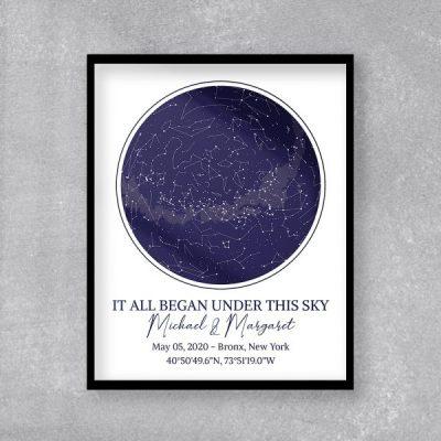 custom star map art print