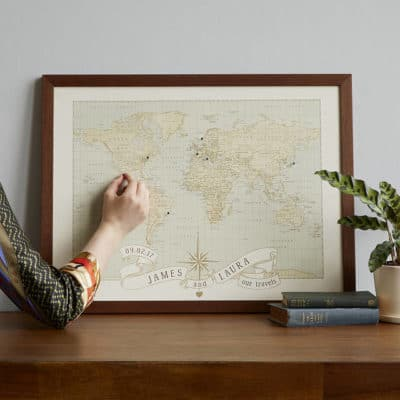 7 year anniversary gift: personalized anniversary push pin world map