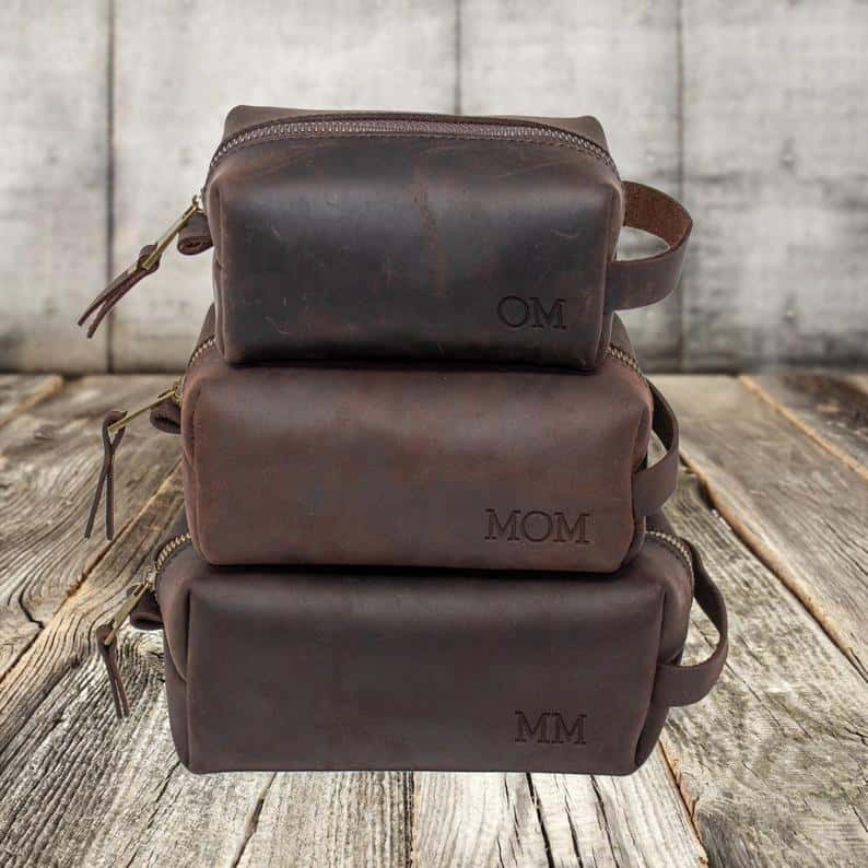valentines gift ideas for him: personalized leather dopp kit bag
