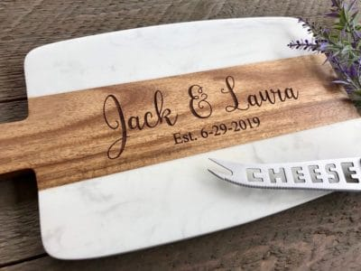 anniversary gift for couples: personalized marble cheese board