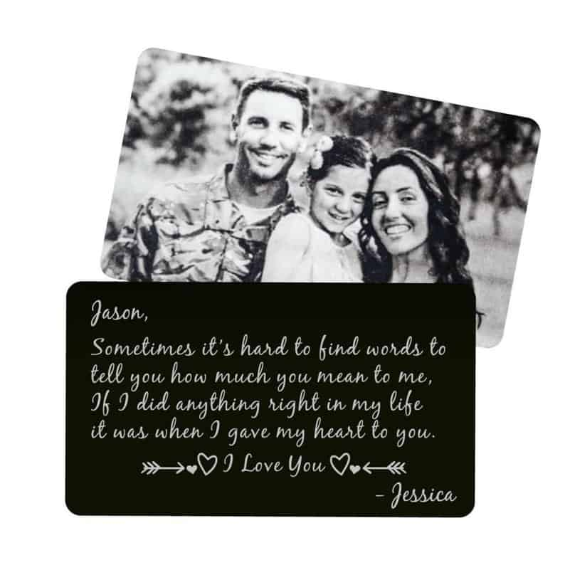 valentine presents for boyfriends: personalized wallet card