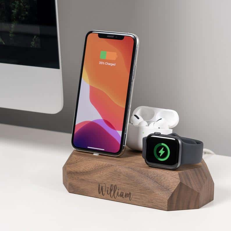 valentines day gifts for him: personalized wooden charger