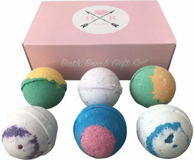 modern valentines gift for women: bath bomb set from oliver rocket