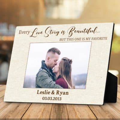 sweet valentines gift for girlfriend: our love story custom photo plaque