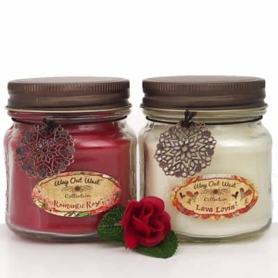 gift for girlfriend instead of flowers: romance pack set of 2 scented candles