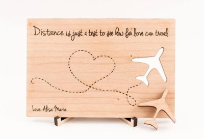 long distance valentines day gift for girlfriend: wooden postcard