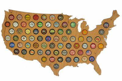 USA Beer Cap Map Cherry