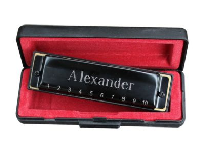 Personalized gift for kids on Valentine's day: Personalized black harmonica