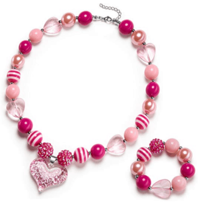 cute Valentine's day gift idea for little girls: pink chunky bead necklace & bracelet set