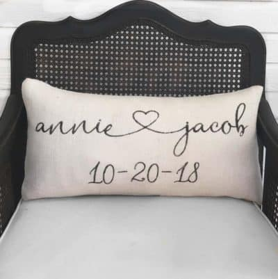 Personalized gift for her on februrary 14: custom burlap pillow