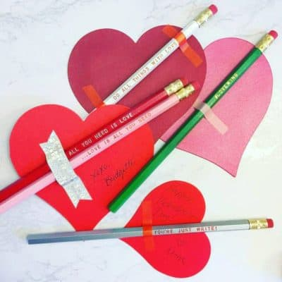 Valentines classroom gift for kids: pencil set with sweet sayings