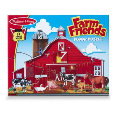 Valentine's day gift for toddlers: farm friends floor puzzle