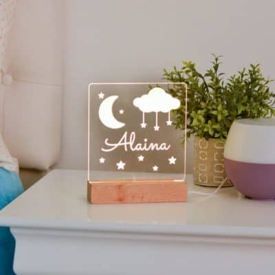 custom moon and stars night light - cute valentine gift idea for infants, babies & kids