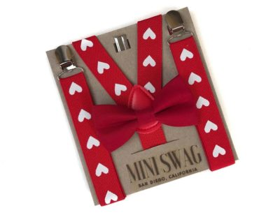 Valentines gift idea for boys - red bow tie & heart suspenders