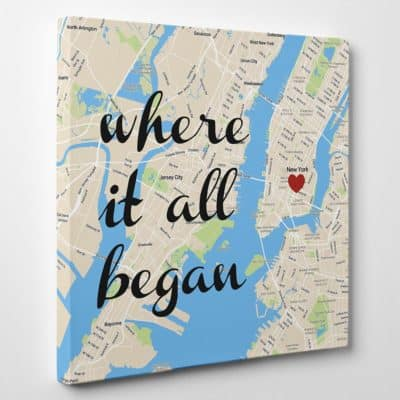 romantic valentines day gift for her: where it all began custom map canvas wall art