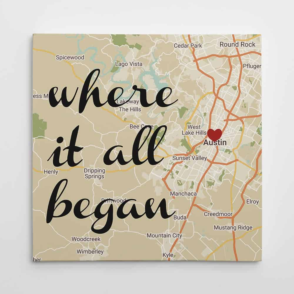 unique valentines day gifts for him: where it all began map wall art