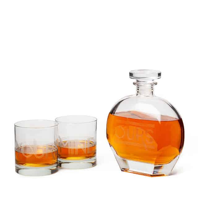 gift ideas for whiskey lovers: yours mine and ours decanter set