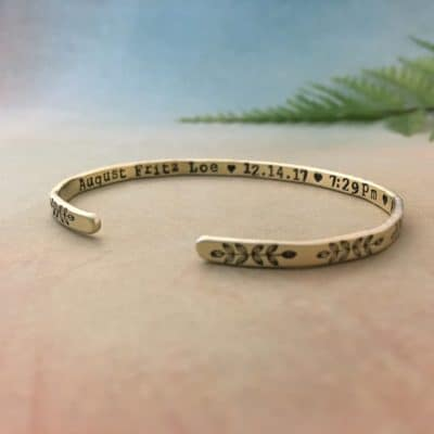 gift for new mom who just had a baby: baby stats bracelet