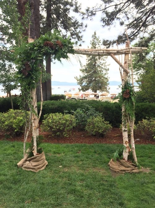 simple birch wedding arbor idea