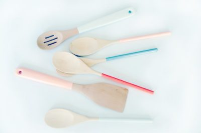 mothers day presents from dad and baby: dipped wooded utensils