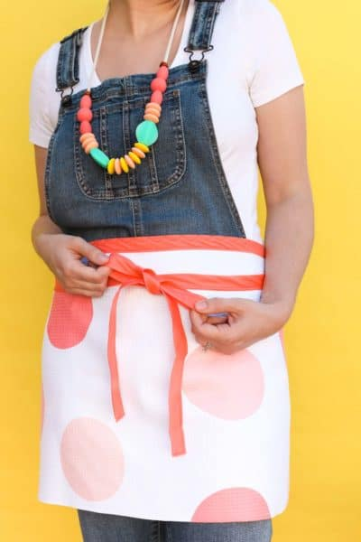 first mother's day diy gift ideas: tea towel apron